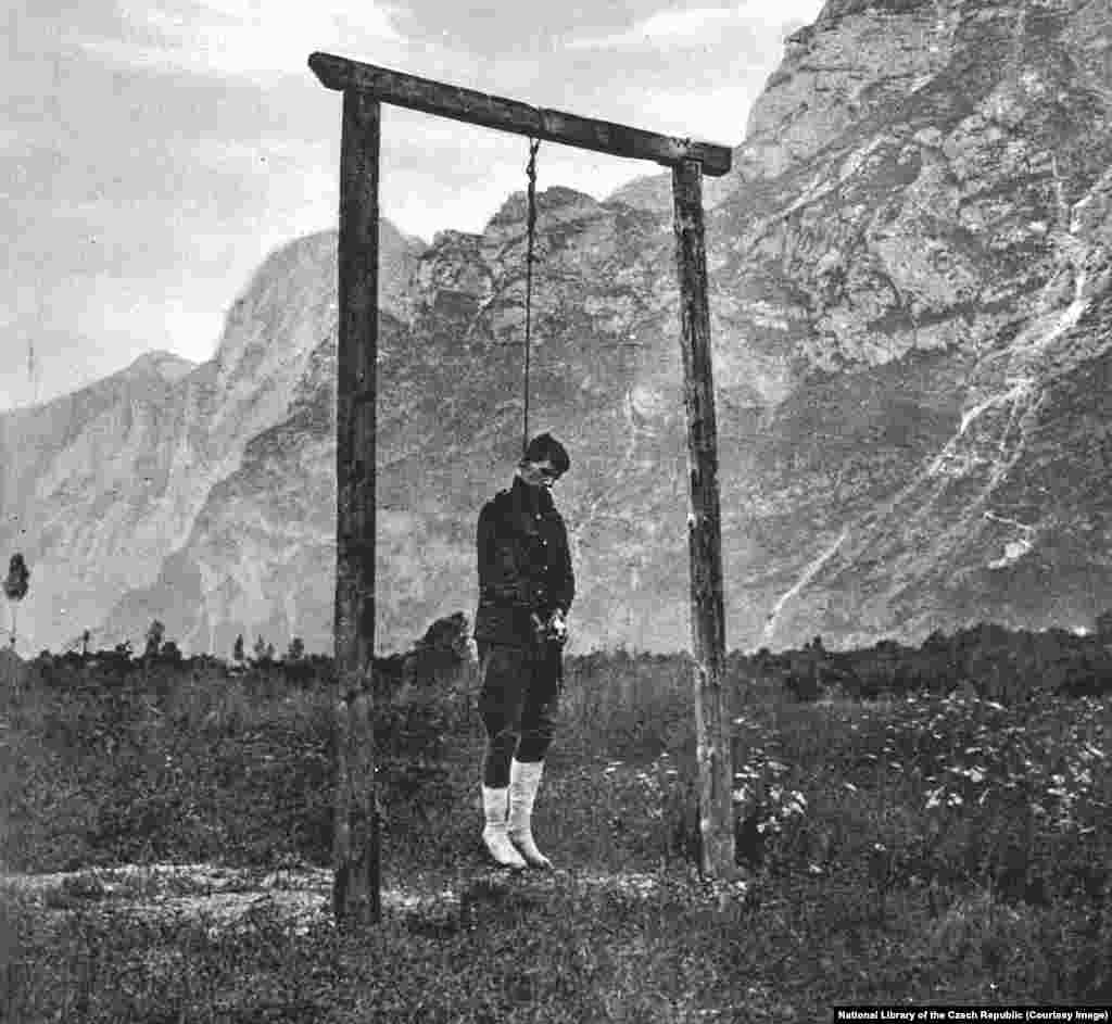 ...and if caught, they faced execution. This Czech fighter was hanged after his capture by Austrians in 1918.
