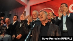 Владна Демократична партія соціалістів святкує перемогу, Подгориця, 16 жовтня 2016 року