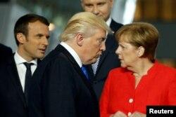 Макрон, Трамп та Меркель, 2017 рік