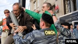 "Dozens were detained at the banned August 31 ""March of Dissent"" in Moscow."