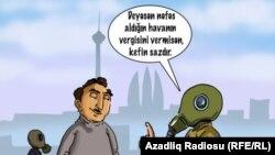 """Gündüz Ağayev. """"Hava vergisi"""" (Karikatura)"""