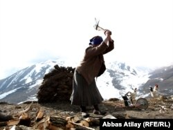 Кавказ тауларының арасындағы ауылда әйел адам отын бұтап жатыр. Әзербайжан, наурыз 2011 жыл.