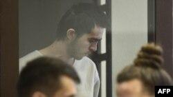 Один из подозреваемых в причастности ко взрыву в петербуржском метро, Азамжон Махмудов на судебном слушании. Санкт-Петербург, 7 апреля 2017 года