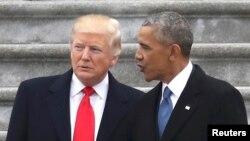 Бывший и нынешние президенты США Дональд Трамп и Барак Обама.