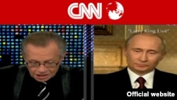 Russian Prime Minister Vladimir Putin being interviewed by CNN's Larry King