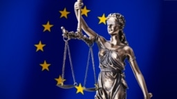 Generic – Themis with scale, symbol of justice on European Union flag background composition