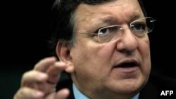 Жозе Мануел Баррозу повідомляє про рішення Єврокомісії на прес-конференції в Європарламенті, Страсбург, 11 березня 2014 року