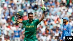 Pakistan's Fakhar Zaman celebrates reaching his 100 during the Champions Trophy final cricket match against India.