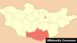 Монголиянең Өмнегови виләяте кызыл төс белән күрсәтелгән