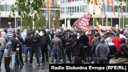 Акция протеста против убийства пяти человек. Скопье, 16 апреля 2012 года.