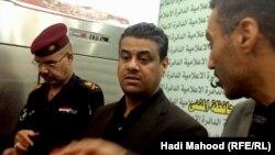 جانب من المؤتمر الصحفي لرئيس مجلس محافظة المثنى والمحافظ وقائد الشرطة