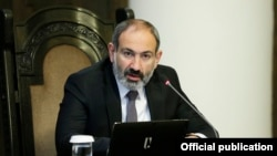 Armenian Prime Minister Nikol Pashinian speaks at a cabinet meeting in Yerevan on January 10.