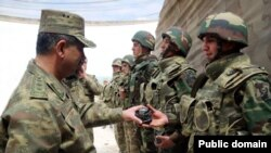 Azerbaijan - Azerbaijani Defense Minister Zakir Hasanov visits troops stationed near Nagorno-Karabakh,10May2016.