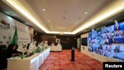 Сауд Арабиясынын энергетика министри Абдулазиз бин Салман ал-Сауд баштаган жетекчилер видеоконференция маалында. 10-апрель, 2020-жыл.
