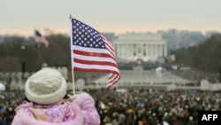 Crowds near the Washington Monument for a pre-inaugural concert on January 18.