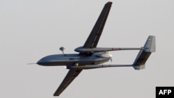 Israel -- A UAV Hermes 500 flies over the Hatzerim air force base in the Negev desert, 30Jun2011