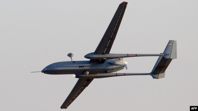 A Hermes 500 UAV flies over the Hatzerim air force base in southern Israel's Negev desert in 2011.