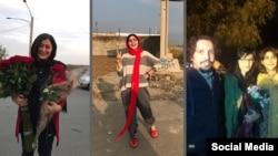 لحظاتی پس از آزادی از زندان. از راست: مرضیه امیری، ساناز اللهیاری، امیرحسین محمدیفر، سپیده قلیان و عاطفه رنگریز