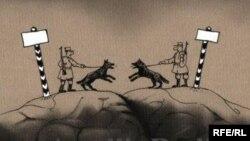 """""""Sərhəd"""". Karikatura. Şerif."""