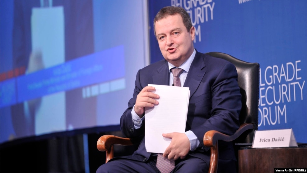 "Serbian Foreign Minister Ivica Dacic said European Union pressure on Belgrade to join sanctions against Russia was ""absolutely unacceptable."""