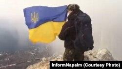 UKRAINE - Volunteers unfurled the flag of Ukraine in support of the Ukrainian sailors. Crimea, 17Dec2018