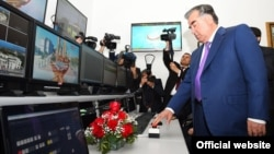 Tajikistan's authoritarian President Emomali Rahmon inaugurates two new TV channels -- Varzish and Cinama -- in Dushanbe in March.