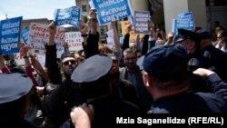 Tbilisi, u Gruziji gdje je Viktor Orban danas u posjeti oragnizovani su protesti protiv mađarskog premijera Orbana, 21. april 2017.