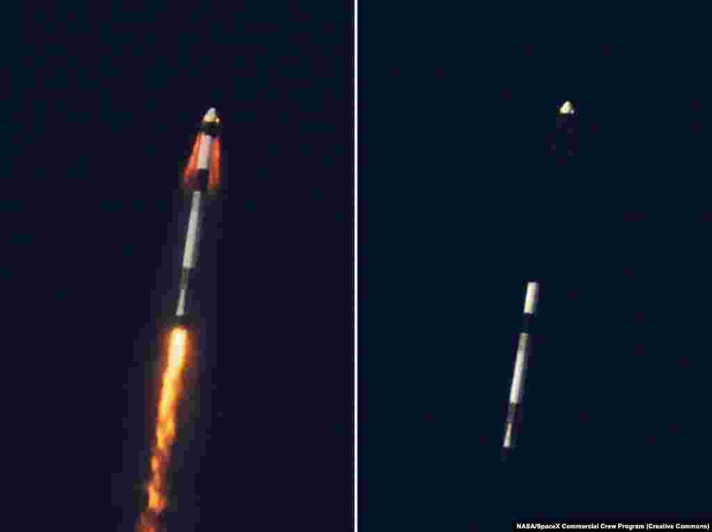 Комбинирана фотографија на моментот кога Crew Dragon се катапултира од ракетата за време на тестот во јануари 2020 година.
