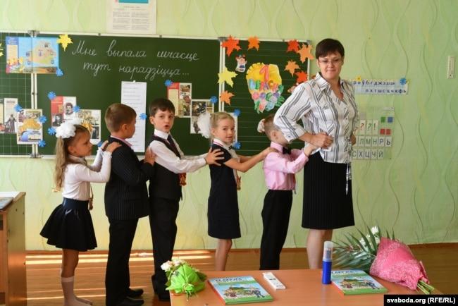 Першы ўрок вучняй беларускай клясы.