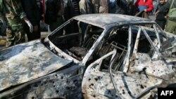 Один из автомобилей, взорванных в Дамаске 23 декабря