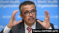 دکتر تدروس در جریان نشست خبری ۱۱ مارس سازمان جهانی بهداشت در ژنو
