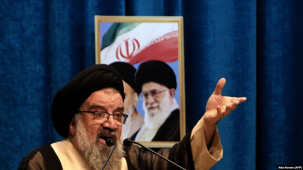 IRAN -- Iranian senior cleric Ahmad Khatami delivers a sermon during a mourning prayer for slain Iranian Revolutionary Guards Major General Qasem Soleimani in Tehran, January 3, 2020