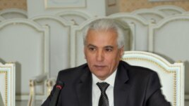Tajik Foreign Minister Hamrokhon Zarifi participates in Tajik-U.S. talks in Dushanbe on April 11, 2012