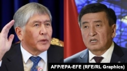 Kyrgyz President Sooronbai Jeenbekov (right) and his predecessor, Almazbek Atambaev: A dispute between them is fracturing Kyrgyzstan's ruling party and threatens to sow discord across the country. (combo photo)