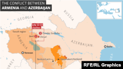 Infographic - Locator map - The Conflict Between Armenia And Azerbaijan