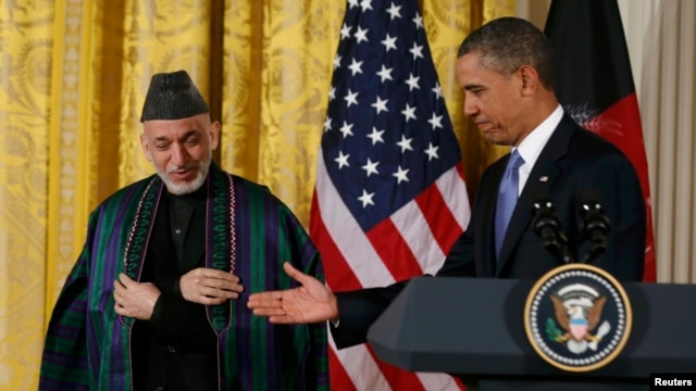 Afghan President Hamid Karzai (left) with U.S. President Barack Obama at a joint news conference at the White House in January.