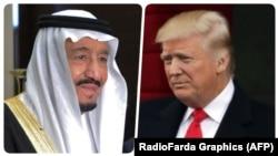 АҚШ президенті Дональд Трамп (оң жақта) және Сауд Арабиясы королі Салманның фотоларынан коллаж.