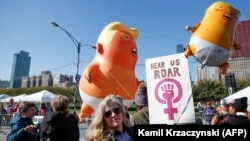 Демонстрация противников Дональда Трампа. Чикаго, октябрь 2018 года