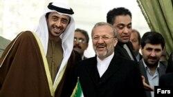 وزیر خارجه امارات (چپ) در سفر آذرماه ۸۸ به تهران