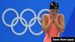 Russian swimmer Yulia Yefimova reacted tearfully to sniping over doping charges.