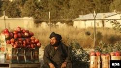 Afgán férfi árul gránátalmát egy kabuli út mellett. 2016. október 26.