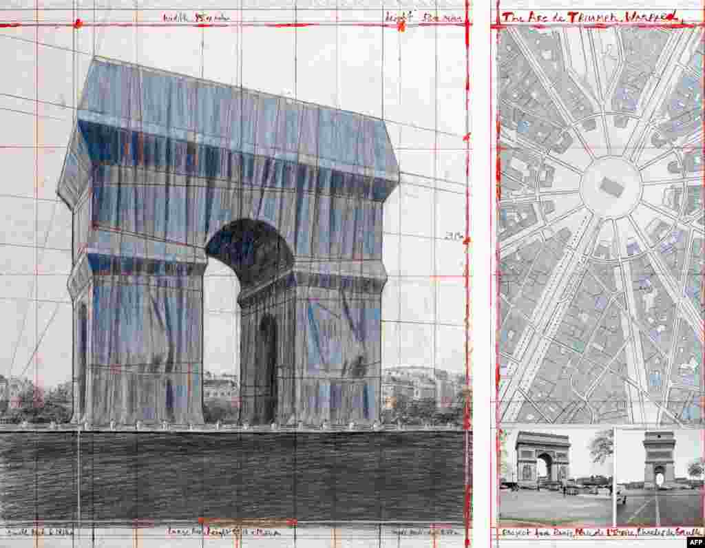 Preparatory drawings and collages for L'Arc de Triomphe, Wrapped. In accordance with Christo's wishes, the work will be completed and shown to the public in Paris from September 18-October 3, 2021.