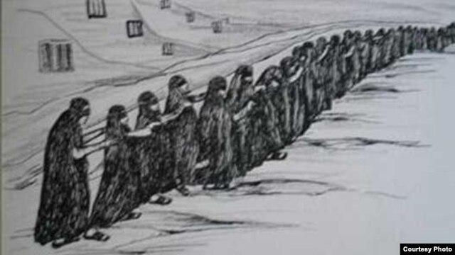 نقاشی منتشر شده در کتاب یادنگاره های زندان اثر سودابه اردوان زندانی سیاسی دهه ۶۰