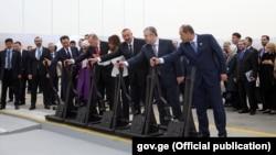 Церемония открытия железнодорожной линии Баку – Тбилиси – Карс