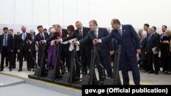 Церемония открытия железнодорожной линии Баку – Тбилиси – Карс.