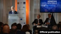 U.S. - Armenian President Serzh Sarkisian addresses an investment forum on Armenia in New York, 10Oct2016.