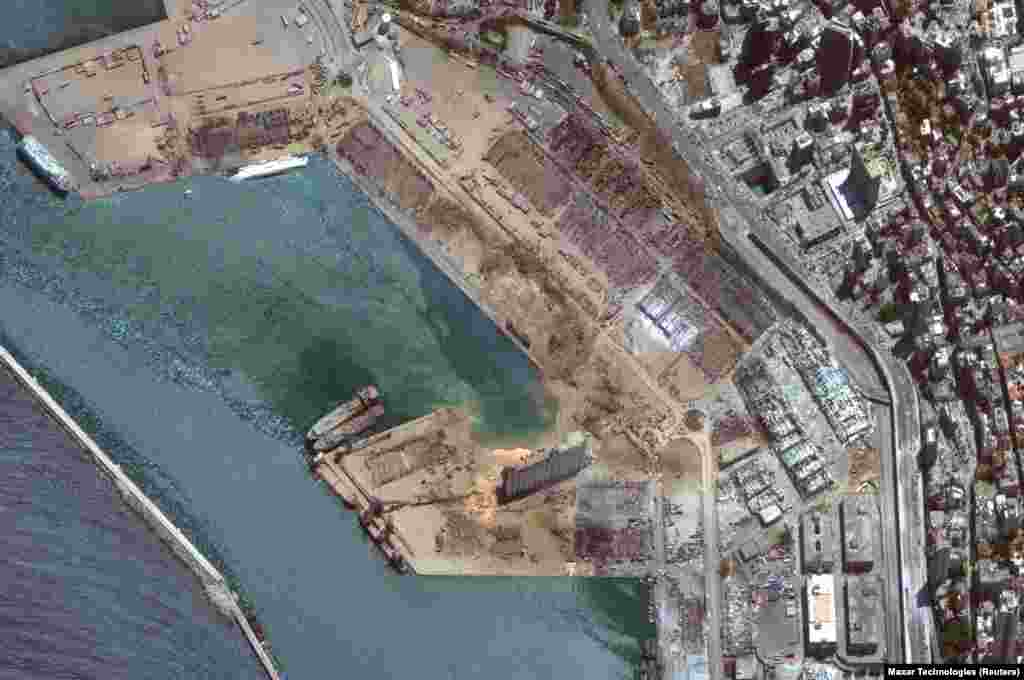 A satellite image shows the port of Beirut after an explosion, Lebanon, August 5, 2020, Satellite image ©2020 Maxar Technologies/via REUTERS