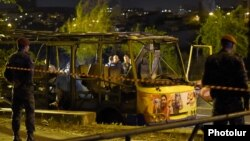 Armenia -- A commuter bus in Yerevan destroyed by an explosion, 25Apr2016