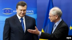 Ukrainian President Viktor Yanukovych (left) and President of the European Council Herman Van Rompuy meet at EC headquarters in Brussels. (file photo)