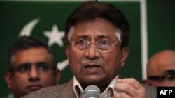 Former Pakistani President Pervez Musharraf speaks during a press conference in London on January 19.